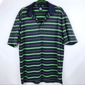 FJ | Blue and Green Striped Men's Polo Size Lrg
